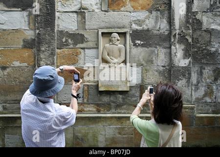 William Shakespeare Monument, Kronborg Castle, Helsingør, Zealand, Denmark - Stock Photo