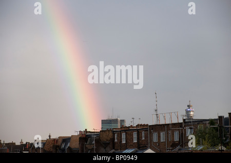 Rainbow over BT Tower and Primrose Hill, London, England. - Stock Photo