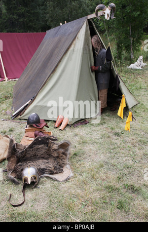... Tent detail at Finlandu0027s biggest Viking Market Festival and re-enactment c& at Kvarnbo on & Viking re-enactment tent Stock Photo Royalty Free Image: 83470663 ...