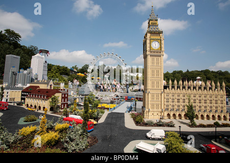 England, Berkshire, Windsor. Details of London at Legoland showing Big Ben, the Houses of Parliament and Canary - Stock Photo