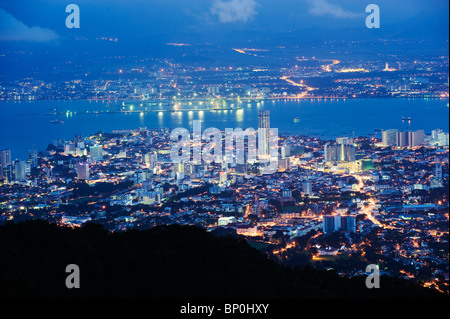South East Asia, Malaysia, Penang, Georgetown, view of Georgetown from Penang Hill - Stock Photo