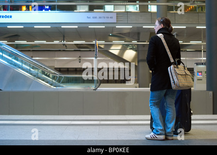 Passengers at Berlin Hauptbahnhof, Berlin, Germany - Stock Photo