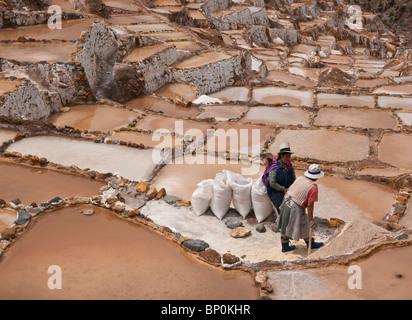 Peru, The ancient saltpans of Salinas near Maras have been an important source of salt since pre-Inca times. - Stock Photo