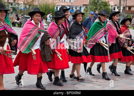 Peru, Dancers for parade on Christmas Day in Cusco's square, Plaza de Armas, celebrating the Andean Baby Jesus, - Stock Photo