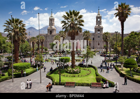 Peru, Arequipa Cathedral in the main square, Plaza de Armas. Built with sillar, a stone mined from the extinct Chachani - Stock Photo