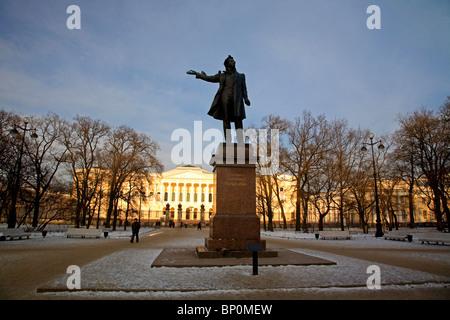Russia, St. Petersburg; A sculpture of Russian Poet Alexander Pushkin, standing on Pushkinskaya Street. - Stock Photo