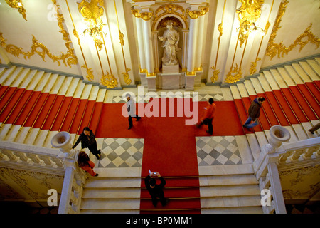 Russia, St. Petersburg; An overview of the entrance staircase to the State Hermitage Museum - Stock Photo