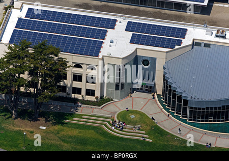 aerial view above solar panels installed on roof University of San Francisco - Stock Photo