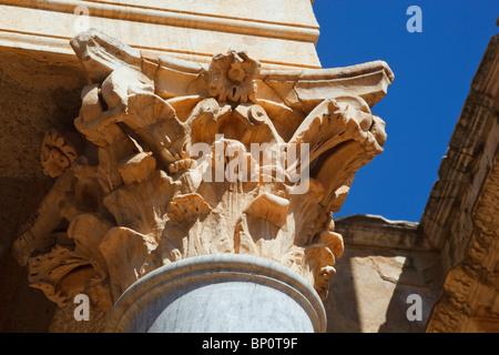 Merida, Badajoz Province, Spain. The Roman theatre built in the first century BC. Corinthian capital . - Stock Photo