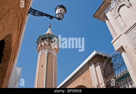 1655 Hammouda Pasha Mosque (Hamouda Pacha al Mouradi) with octagonal-shaped minaret in the Tunis Medina - Stock Photo
