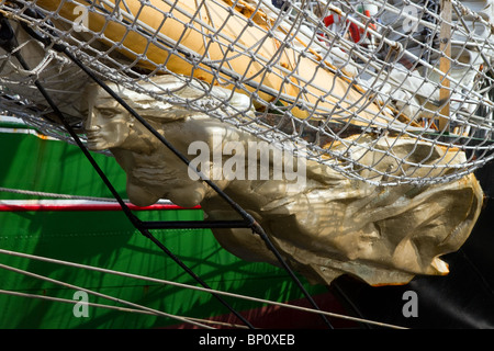 Class A Alexander von Humboldt ship figurehead, boat, sail, sea, wood, vessel, bow, rope, old, ancient, flag, history, - Stock Photo