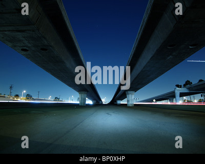 freeway overpass and bridges in 'los angeles' night lights - Stock Photo