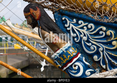 Figurehead, figurehead, ship, boat, sail, sea, wood, vessel, bow, rope, old, ancient, flag, history, mast, galleon, - Stock Photo