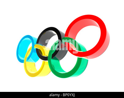 Olympic rings symbol isolated on white background 3D illustration - Stock Photo