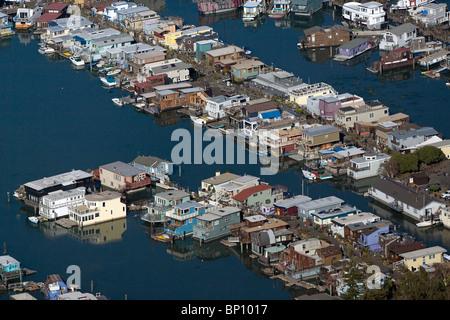aerial view above house boats Sausalito Marin county California - Stock Photo