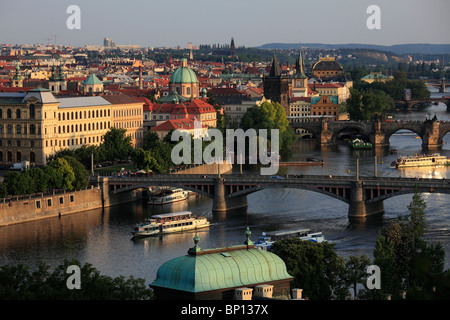 Czech Republic, Prague, Old Town skyline, Vltava River - Stock Photo