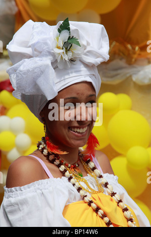 Germany, Berlin, Carnival of Cultures, brazilian woman in costume - Stock Photo
