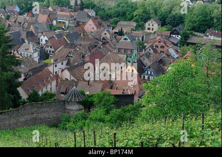 RIBEAUVILLE VILLAGE, ALSACE, HAUT RHIN, FRANCE - Stock Photo