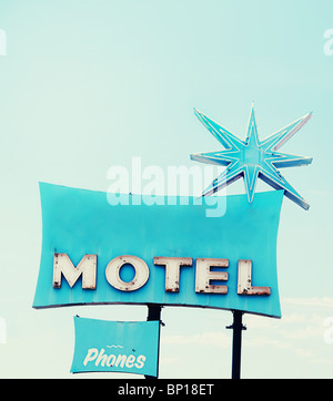 Old vintage retro motel sign off route 66 in Az - Stock Photo
