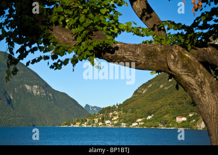 View of the village of Cima on Lake Lugano from Porlezza - Stock Photo