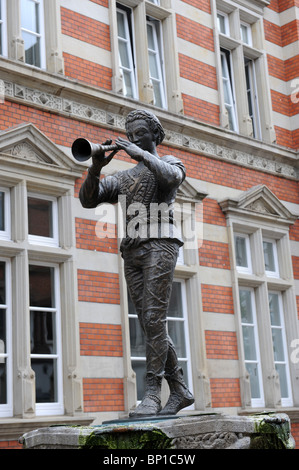 Statue of the Pied Piper in Hamelin Hameln Germany Deutschland Europe - Stock Photo