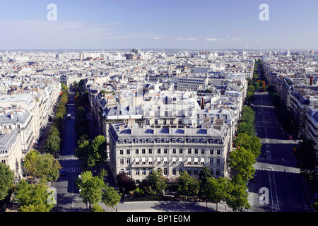 France, Paris, streets view from Arch of Triumph - Stock Photo