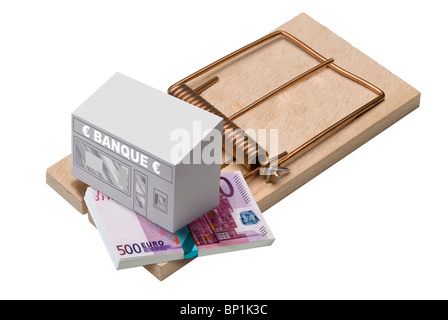 Bank and euro bills on mouse trap - Stock Photo