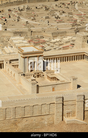 Israel, Jerusalem, the Model of Jerusalem in the Second Temple Period at the Israel Museum - Stock Photo