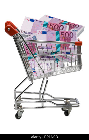 500 euro bills in a shopping trolley - Stock Photo