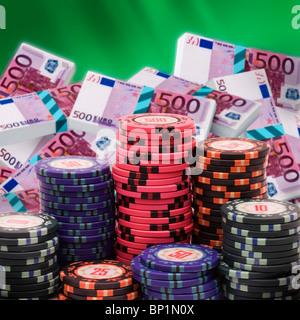 500 euro bills and casino chips - Stock Photo