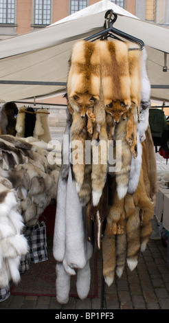 A fur stall in the Kauppatori quayside market in Helsinki. A rack of fox fur pelts is prominent at the front. - Stock Photo
