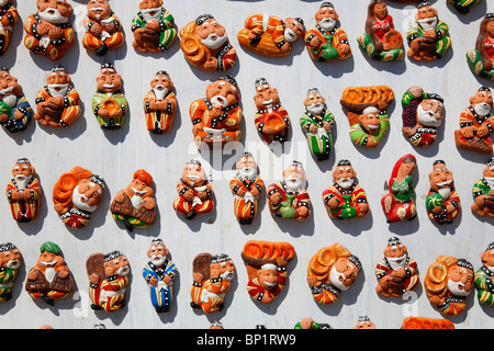 Uzbekistan - Bukhara - shop display of souvenir fridge magnets - Stock Photo