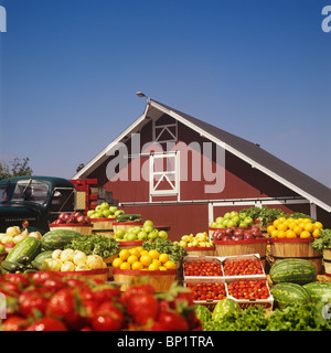 Bushels of Produce Stacked in Front of Barn - Stock Photo