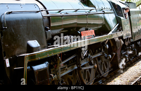 'Eddystone' steam locomotive working on the Swanage Railway.England. Just waiting to pull away from Corfe railway - Stock Photo