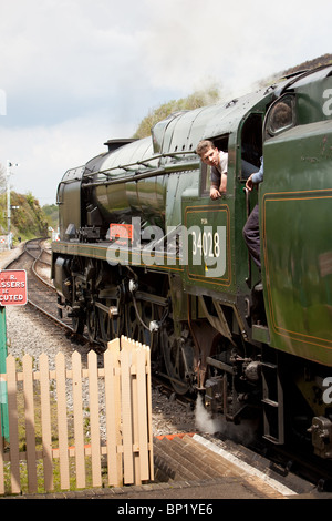 'Eddystone' steam locomotive working on the Swanage Railway.England, stopped at Corfe village station - Stock Photo