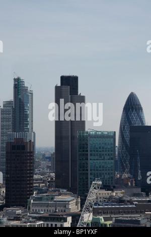 London skyline with  views of the financial square mile showing tower 42,The Gherkin - Stock Photo