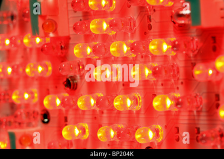 Red LED, electroluminescent diode, light-emitting diode. - Stock Photo
