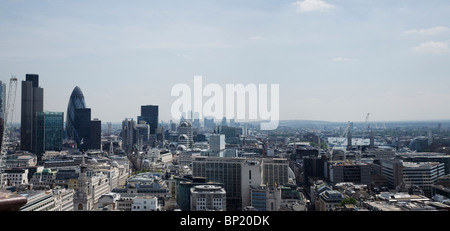 London skyline with  views of the financial square mile showing tower 42,The Gherkin ,Canary wharf and Tower bridge, - Stock Photo