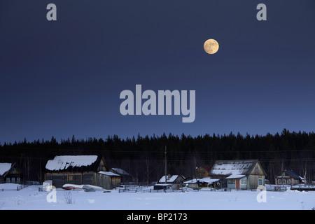 Full Moon at White Sea, Karelia, Russia - Stock Photo