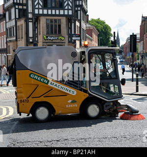 A Green Machine road and street sweeper works in Leicester City. - Stock Photo