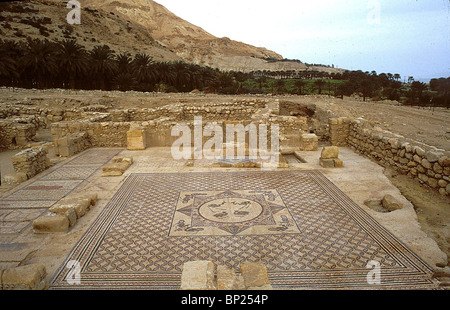 GENERAL VIEW OF THE EIN GEDI SYNAGOGUE WITH IT'S BEAUTYFUL MOSAIC FLOOR. DATING FROM THE 3RD. C. AD LOCATED NEAR - Stock Photo
