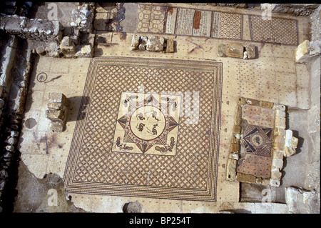 CENTRAL MOSAIC FLOOR OF THE EIN GEDI SYNAGOGUE DATING FROM THE 3RD. C. AD, LOCATED NEAR THE DEAD SEA IN THE OASIS - Stock Photo