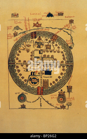 1072. MAP OF CRUSADER JERUSALEM, - Stock Photo