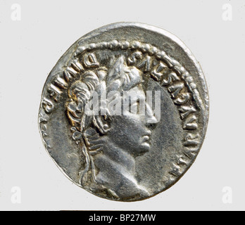 931. ROMAN COIN WITH THE BUST OF EMPEROR AUGUSTUS, (30 BC. - 14 AD.) - Stock Photo