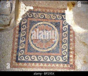 2687. MASADA - HEROD'S WESTERN PALACE, REMAINS OF A MOSAIC FLOOR - Stock Photo