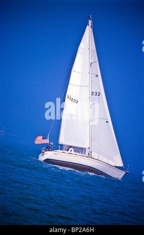 Fun times, day sailing on the Chesapeake - Stock Photo