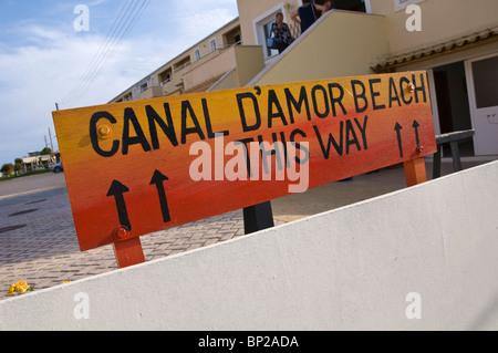 Corfu beach. Sign to CANAL D'AMOUR BEACH THIS WAY at Sidari on the Greek island of Corfu Greece GR - Stock Photo