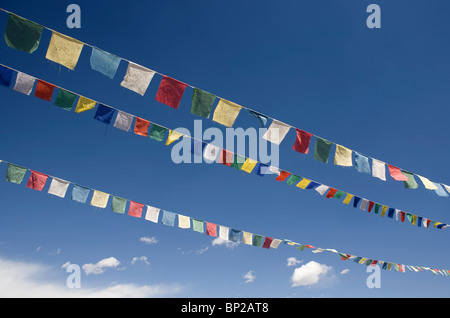 Tibetan prayer flags on blue skyat Tibetan settlement in Choglamsar. - Stock Photo