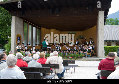 Ruhpolding Germany Europe EU Local band playing to the tourists during a Sunday morning concert - Stock Photo