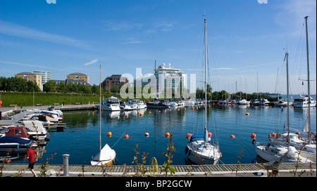 VIEW OF THE P&O CRUISE SHIP AZURA DOCKED AT THE LANGELINIE PIER IN COPENHAGEN DENMARK.. - Stock Photo